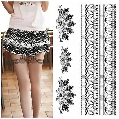 1 - 20*14.5cm (7.87*5.71in) - Γκρίζο/Μαύρο - Legs Sexy Silk Stockings Feather Peacock Fan Άλλα - Αυτοκόλλητα Τατουάζ -Non Toxic/Χαμηλά στην