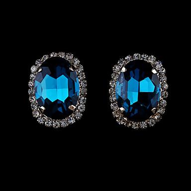 Mulheres Brincos Curtos Cristal Fashion Europeu Imitação de Pérola Strass Chapeado Dourado Cristal Austríaco 18K ouro Imitações de