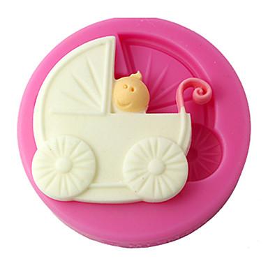 four-c silicone cupcake schimmel kinderwagen fondant schimmel, taart decoratie, fondant decoreren gereedschappen levert kleur roze