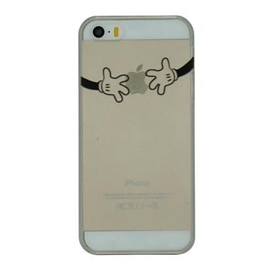 Pouzdro Uyumluluk iPhone 5 / Apple iPhone 5 Kılıf Ultra İnce / Şeffaf Arka Kapak Oynanan Apple Logosu Sert PC için iPhone SE / 5s / iPhone 5