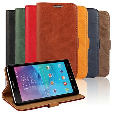 Capinha Para Samsung Galaxy Samsung Galaxy Note Porta-Cartão Com Suporte Flip Capa Proteção Completa Côr Sólida PU Leather para Note 4