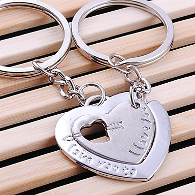 keychain anel chave do casamento duplo coração para o dia dos namorados amante (um par)