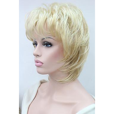 Συνθετικές Περούκες Κυματιστό Κούρεμα με φιλάρισμα Πυκνότητα Χωρίς κάλυμμα Γυναικεία Ξανθό Φυσική περούκα Μεσαίο Μήκος Συνθετικά μαλλιά