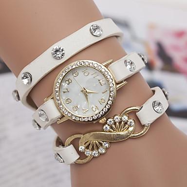 yoonheel Dames Armbandhorloge Modieus horloge Kwarts PU Band Zwart Wit Blauw Orange Groen