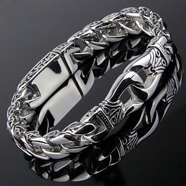 voordelige Heren Armband-Heren Armbanden met ketting en sluiting Roestvast staal Armband sieraden Zilver Voor Kerstcadeaus Feest Dagelijks Causaal Sport