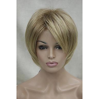 novas raízes sombra marrom claro e peruca sintética ponta loira curta das mulheres heterossexuais