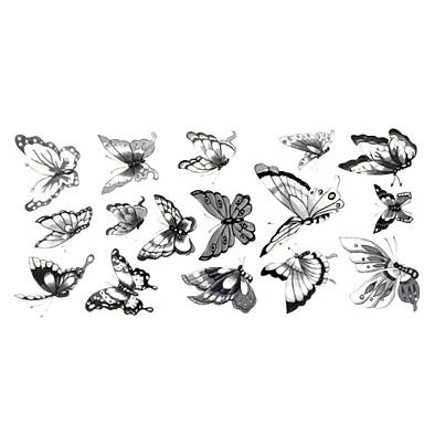 1 - 24*10CM - Γκρίζο/Μαύρο Άλλα - Αυτοκόλλητα Τατουάζ - Χαμηλά στην Πλάτη - από Χαρτί για Γυναικεία/Αντρικά/Ενήλικες/Εφηβικό