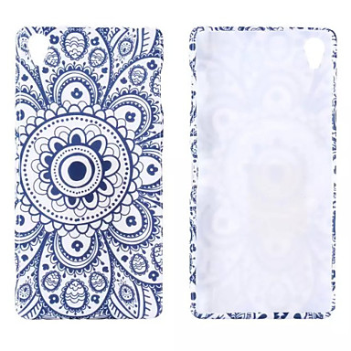 blauw en wit porselein glitter patroon TPU zachte hoes voor Sony Xperia z3