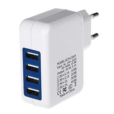 4000mA vier-poorts usb power adapter / lader (100 ~ 240v / eu stekker)