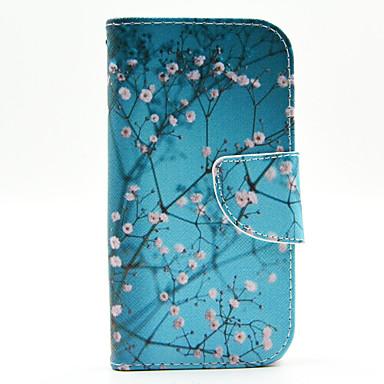 Voor Samsung Galaxy hoesje Kaarthouder / met standaard / Flip / Patroon hoesje Volledige behuizing hoesje Boom PU-leer Samsung J1
