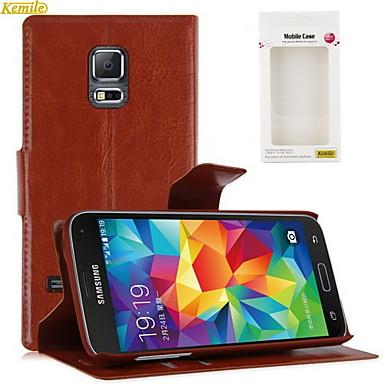 Voor Samsung Galaxy hoesje Kaarthouder / met standaard / Flip hoesje Volledige behuizing hoesje Effen kleur PU-leer Samsung S5 Mini