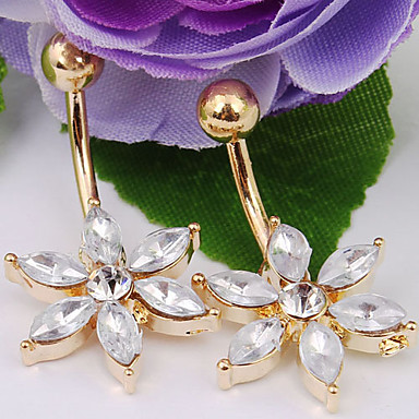 Feminino Bijuteria de Corpo Piercing de Umbigo Cristal imitação de diamante Moda Jóias Diário Casual 1peça