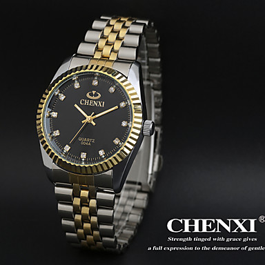 رخيصةأون ساعات الرجال-CHENXI® رجالي ساعة المعصم كوارتز ستانلس ستيل فضة ساعة كاجوال مماثل سحر كلاسيكي - ذهبي أبيض أسود