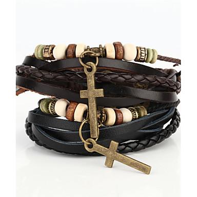 Heren Wikkelarmbanden Vintage Armbanden Lederen armbanden Sierstenen Met de hand gemaakt Leder Kruisvorm Zwart Bruin Sieraden Voor