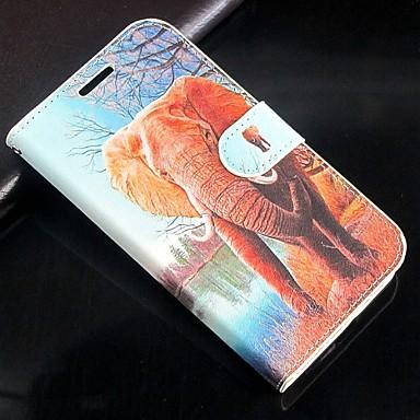 dieren olifant patroon pu lederen flip case met magnetische snap en kaartslot voor iPhone 6 / 6s geval 4,7 inch