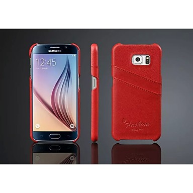 Para Samsung Galaxy Capinhas Porta-Cartão Capinha Capa Traseira Capinha Cor Única Couro Legitimo Samsung S7 edge / S7 / S6 edge / S6 / S5
