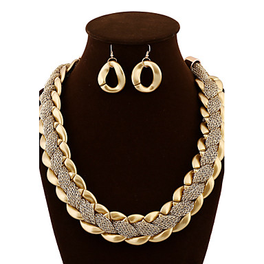 Γυναικεία Κοσμήματα Σετ - Πολυτέλεια, Βίντατζ, Πάρτι Περιλαμβάνω Κρεμαστά Σκουλαρίκια / Κολιέ Δήλωση Χρυσό Για Πάρτι / Ειδική Περίσταση / Επέτειος / Cercei