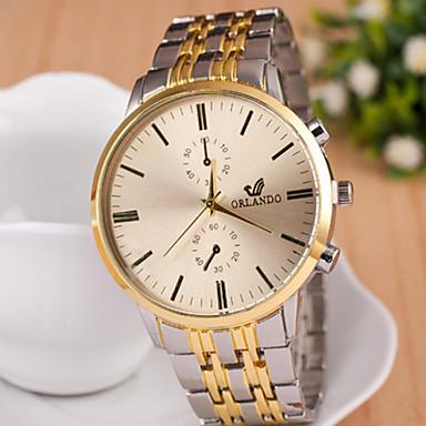 Relógio Casual Aço Inoxidável Banda Branco Preto Dourado