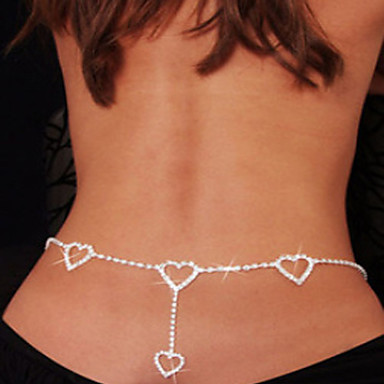preiswerte Körperschmuck-Damen Körperschmuck Bauchkette / Körper-Kette / Bauchkette / Hüftkette Weiß damas / Einzigartiges Design / Modisch Strass / Diamantimitate Modeschmuck Für Alltag / Normal Sommer / Herz