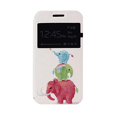 Para Samsung Galaxy Capinhas Com Suporte / com Visor / Flip / Estampada Capinha Corpo Inteiro Capinha Elefante Couro PU Samsung J1