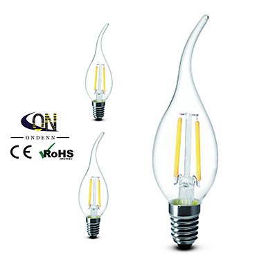 E14 LED-gloeilampen CA35 2 COB 200 lm Warm wit 2800-3200K K Dimbaar AC 220-240 V