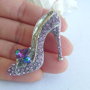 γυναικεία αξεσουάρ ασήμι-Ήχος μωβ rhinestone κρυστάλλου ψηλοτάκουνα παπούτσια καρφίτσα γυναίκες αρτ ντεκό κόσμημα