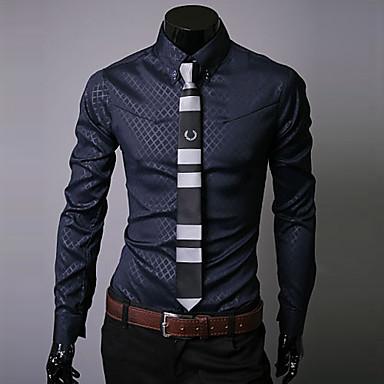 Men's Work Business / Street chic Plus Size Cotton Slim Shirt - Plaid Print Button Down Collar / Long Sleeve / Spring / Fall