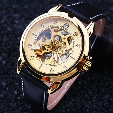 Heren Automatisch opwindmechanisme mechanische horloges Polshorloge Waterbestendig Hol Gegraveerd Leer Band Luxe Zwart