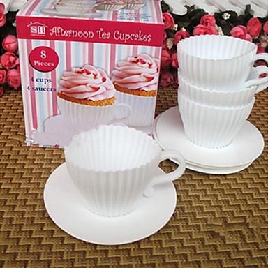 set van 4 afternoon tea cupcakes siliconen cup cake mallen met schoteltjes pretbaksel