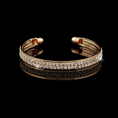 Heren Dames Armbanden met ketting en sluiting Bangles Zilveren armbanden Kristal Modieus Europees Kristal Strass Gesimuleerde diamant 18K