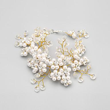 Mulheres Bracelete Cristal Imitação de Pérola Liga Jóias Casamento Festa Jóias de fantasia Dourado