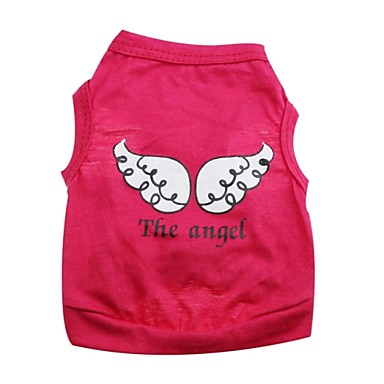 Kat Hond kostuums T-shirt Outfits Hondenkleding Engel en Duivel Paars Roos Groen Roze Katoen Kostuum Voor huisdieren Cosplay Halloween