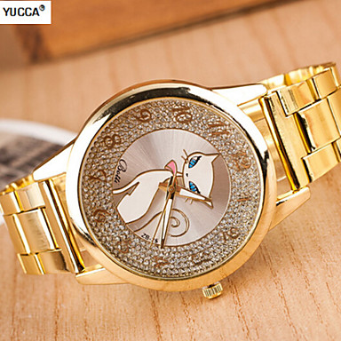 Mulheres Relógio de Moda suíço Designer Quartzo Lega Banda Dourada
