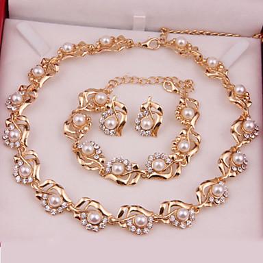 Mulheres Pérola Conjunto de jóias Brincos Colares Braceletes - Fashion Dourado Conjunto de Jóias Para Casamento Festa Ocasião Especial