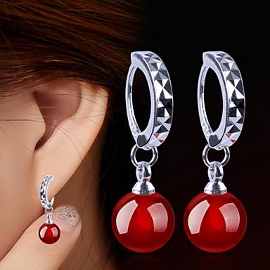Druppel oorbellen Sterling zilver Zwart Rood Sieraden Voor 2 stuks