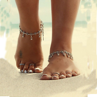 זול תכשיטי גוף-תכשיט לקרסול / סנדלי רגליים יחפות / תכשיטים טיפה, פרח עיצוב מיוחד, צִיצִית, וינטאג', סגנון מינימליסטי, ביקיני בגדי ריקוד נשים כסף תכשיטי גוף עבור יומי / קזו'אל / חוף