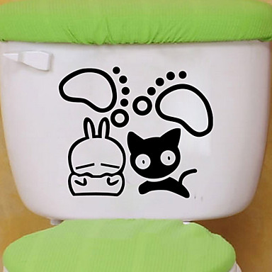 αυτοκόλλητα τοίχου τοίχου στυλ αυτοκόλλητα αυτοκόλλητα τουαλέτα γάτα μπάνιο διακόσμηση PVC τοίχο