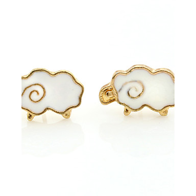 Brincos Curtos Moda Europeu Chapeado Dourado Liga Branco Jóias Para 1 Conjunto