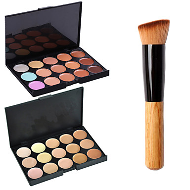 2pcs 15colors rosto contorno paleta de maquiagem espelho pó + 1pcs escova do pó