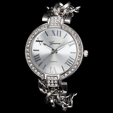 Dames Polshorloge Armbandhorloge Modieus horloge Kwarts imitatie Diamond Legering Band Glitter Elegant Zilver Goud Goud Rose
