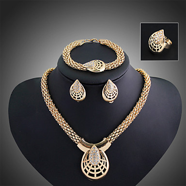 Γυναικεία Cubic Zirconia Χαριτωμένο Κοσμήματα Σετ Βραχιόλι / Cercei / Κολιέ - Βραχιόλι / Βίντατζ / Πάρτι Χρυσό Σετ Κοσμημάτων Για Πάρτι /