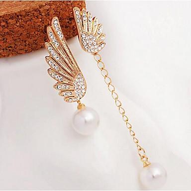Dames wanverhouding Parel Imitatieparel Strass Druppel oorbellen - wanverhouding Elegant Goud Wings oorbellen Voor Feest Dagelijks