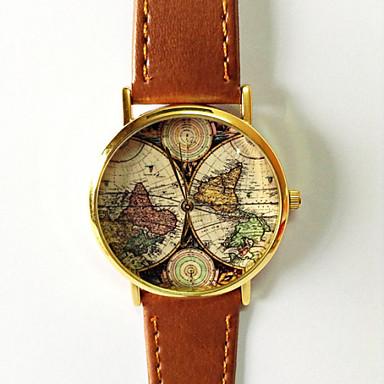 Dames Modieus horloge Kwarts World Map Patroon PU Band Vintage World Map Patroon Zwart Bruin