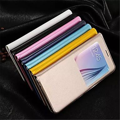 Capinha Para Samsung Galaxy Samsung Galaxy Capinhas com Visor Capa Proteção Completa Sólido PU Leather para S6 edge plus