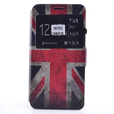 Case Kompatibilitás Samsung Galaxy Samsung Galaxy Note Kártyatartó Állvánnyal Betekintő ablakkal Flip Minta Héjtok Zászló Puha PU bőr mert