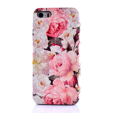 Capinha Para iPhone 5 Porta-Cartão Com Suporte Flip Estampada Capa Proteção Completa Flor Rígida PU Leather para iPhone SE/5s iPhone 5