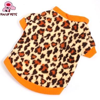 Gato Cachorro Camiseta Moletom Roupas para Cães Leopardo Marron Lã Polar Ocasiões Especiais Para animais de estimação Homens Mulheres