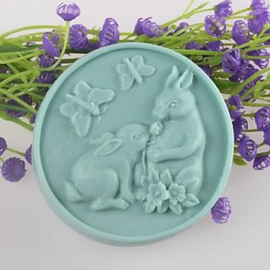 dois coelhos moldes de sabão em forma de borboleta molde do bolo fondant de chocolate do molde de silicone, ferramentas de decoração