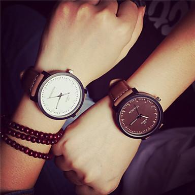 Heren Dames Voor Stel Modieus horloge Kwarts PU Band Vintage Bruin Wit Bruin