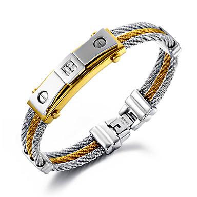 Homens Pulseiras em Correntes e Ligações Hip-Hop Multi Camadas Personalizado Jóias de Luxo bijuterias Aço Inoxidável Chapeado Dourado 18K